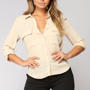 Beige Button Up Blouse Small